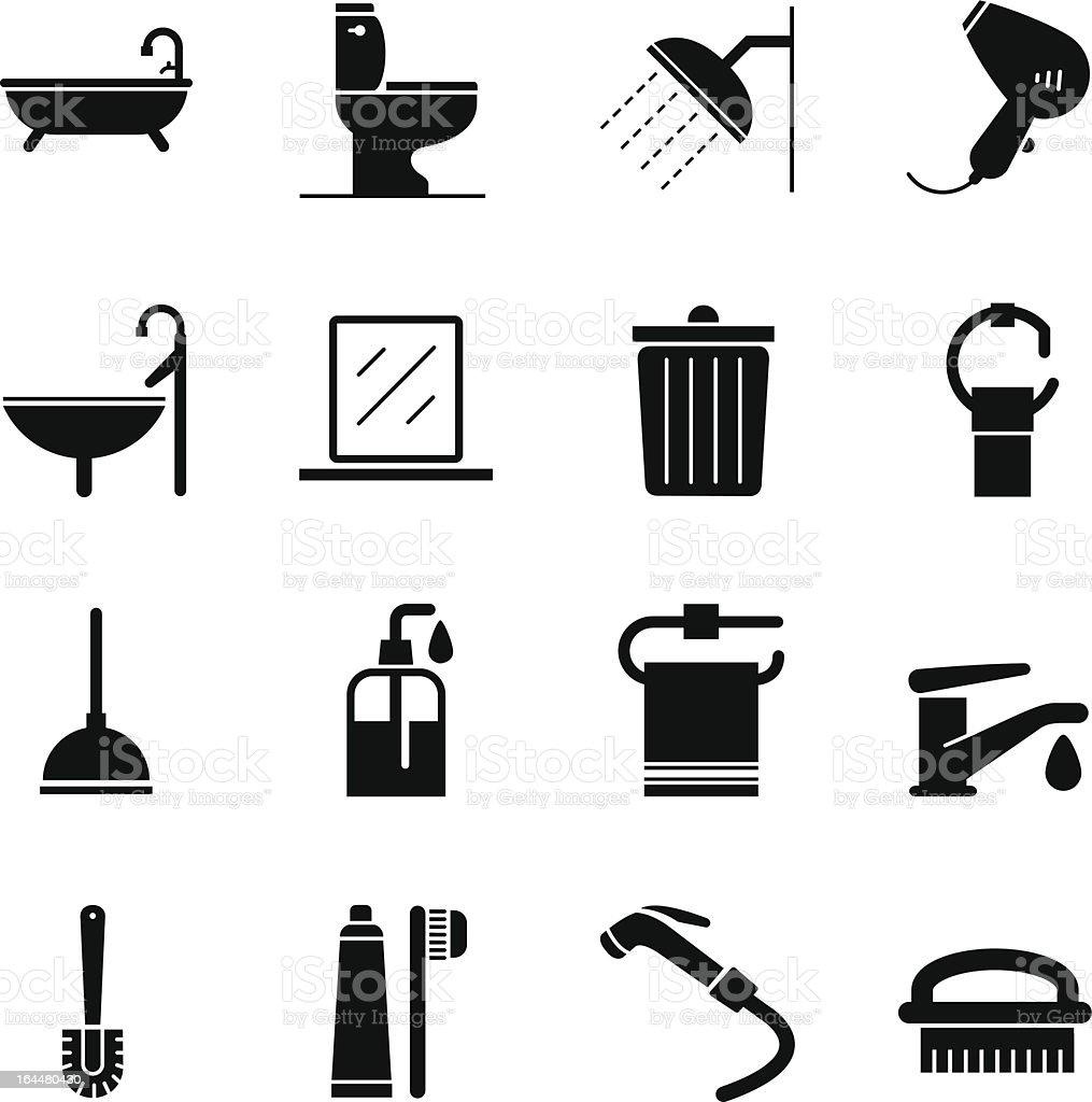 Bathroom Icons vector art illustration