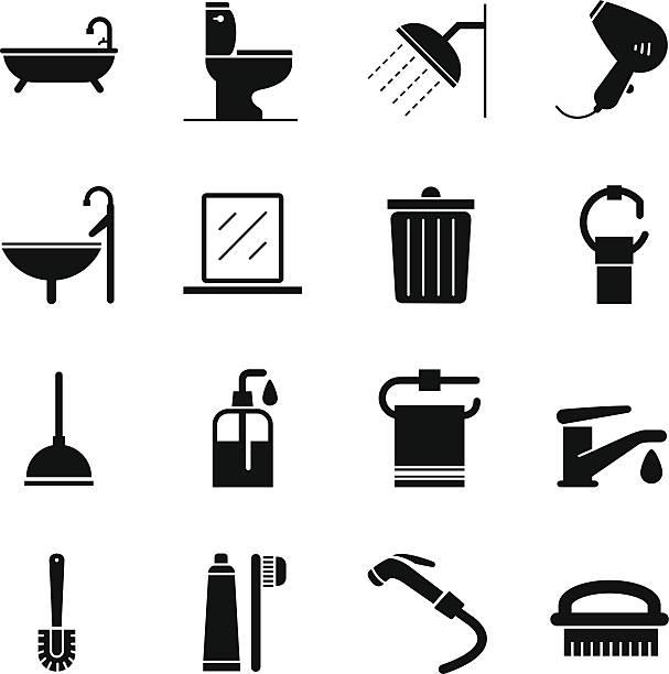 badezimmer-icons - fallrohr stock-grafiken, -clipart, -cartoons und -symbole