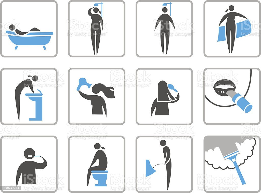 Bathroom icons. royalty-free stock vector art