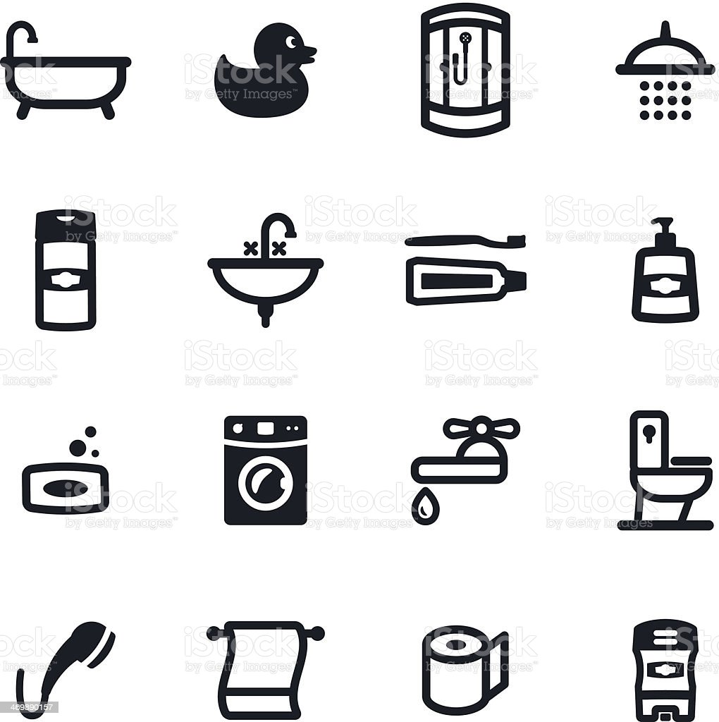 Bathroom Icons vector art illustration