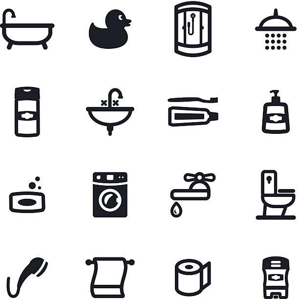 badezimmer-icons - entenhaus stock-grafiken, -clipart, -cartoons und -symbole
