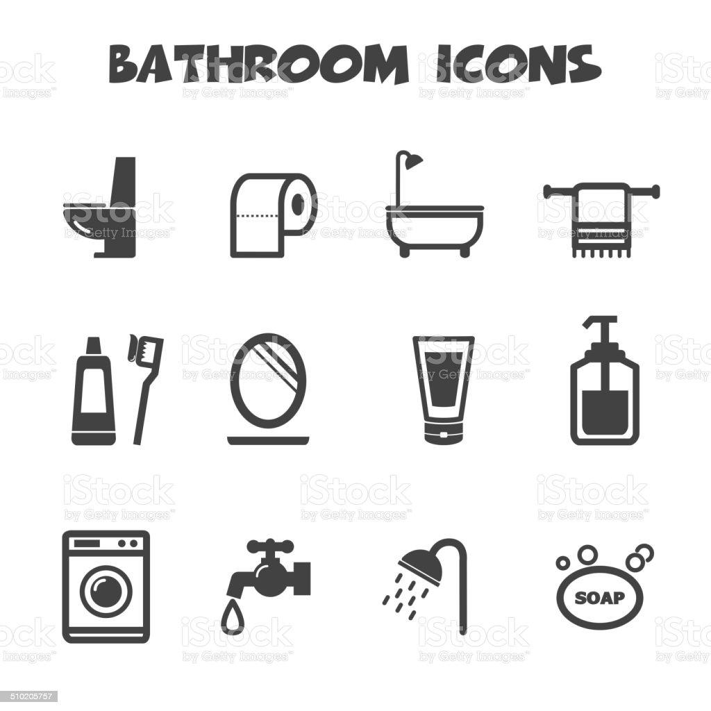 Ícones de banheiro - ilustração de arte em vetor