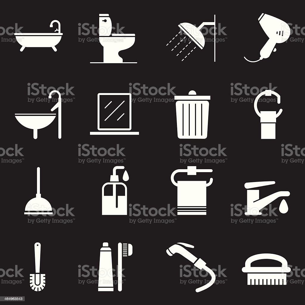 Bathroom Icons   White Series royalty-free stock vector art