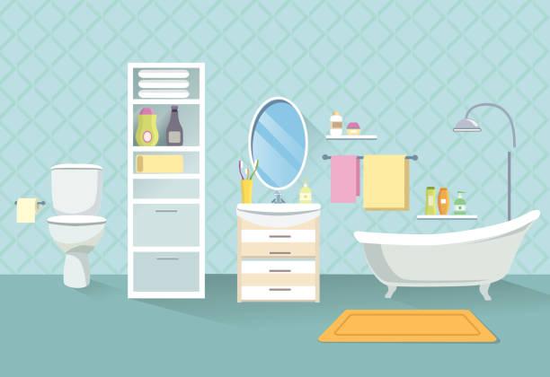 badezimmer interieur. bad zimmer-möbel-set. - spiegelfliesen stock-grafiken, -clipart, -cartoons und -symbole
