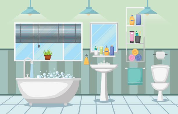 saubere moderne zimmer zur innenseite badmöbel flache design - spiegelfliesen stock-grafiken, -clipart, -cartoons und -symbole