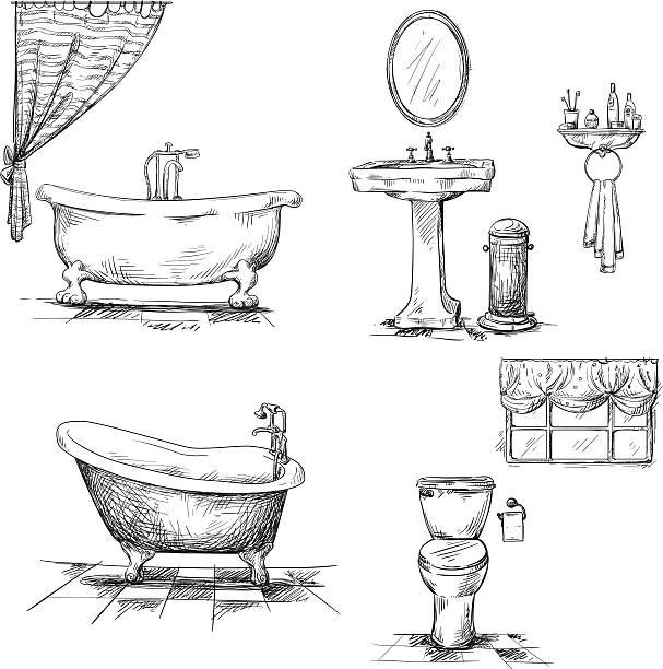 Bathroom interior elements. hand drawn. Bathroom interior elements. hand drawn. Bathtub, toilet bowl, sink. Vector bathroom patterns stock illustrations