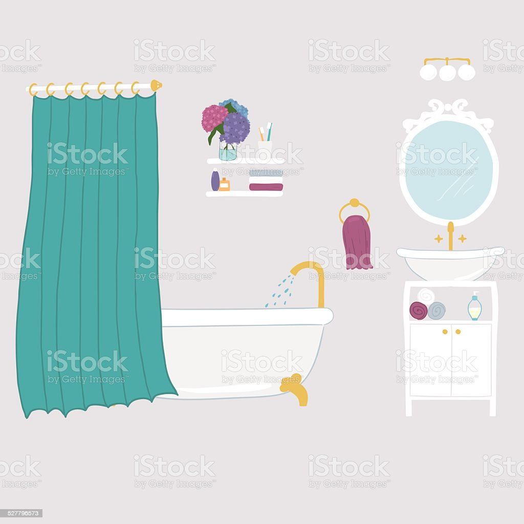 Bathroom interior elements vector art illustration