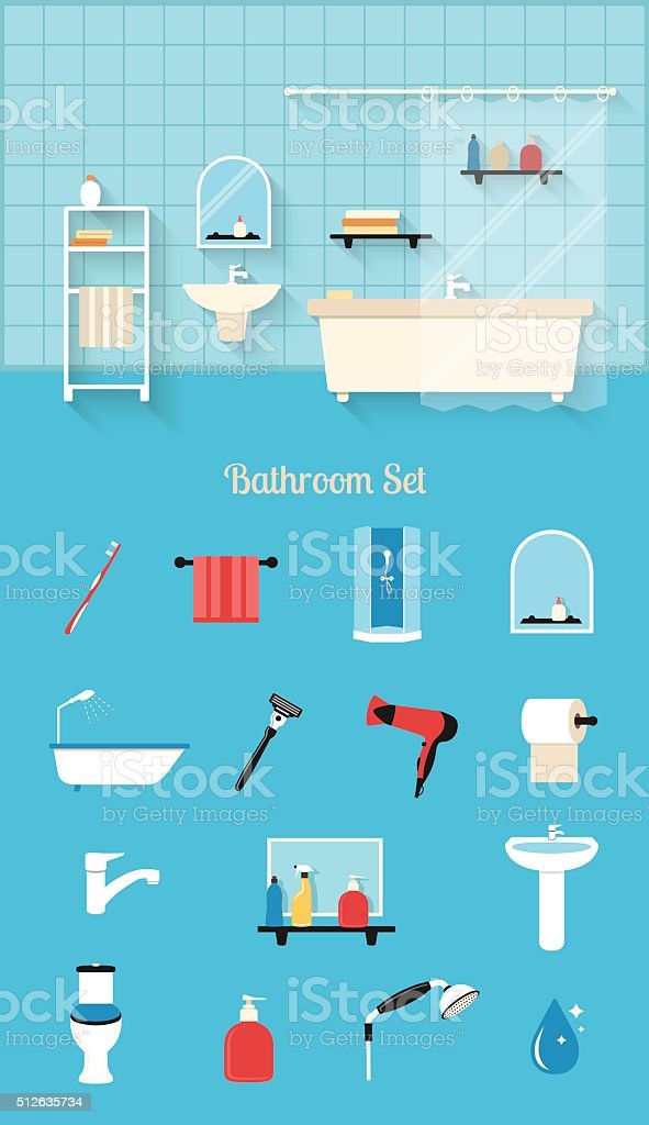 Bathroom interior in flat design style vector art illustration