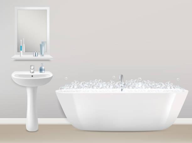 badezimmer-interieur realistische vektor-illustration - spiegelfliesen stock-grafiken, -clipart, -cartoons und -symbole