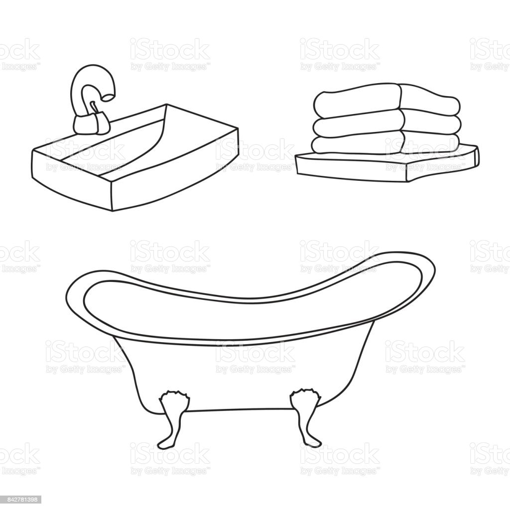 Bathroom Interior Set Vintage Bath Tube Sink With A Water Tap Folded ...