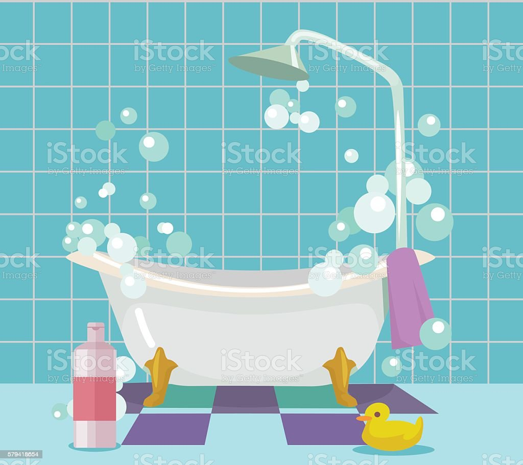 Bathroom interior. Vector flat cartoon illustration - ilustração de arte em vetor