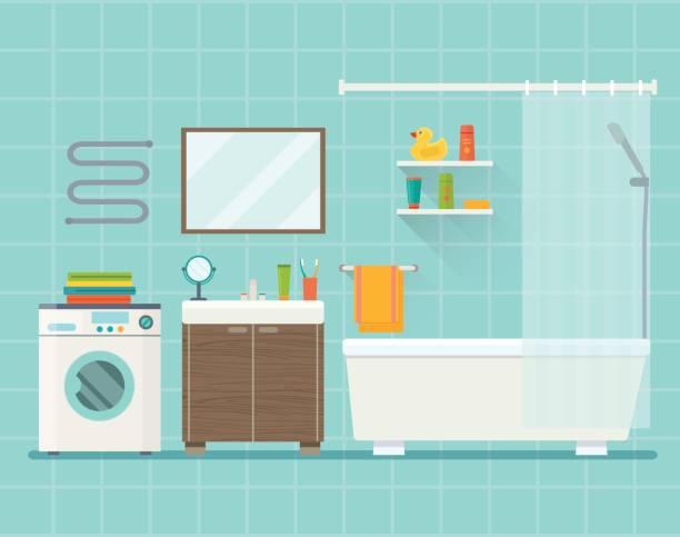 badezimmer interieur. flache vektorgrafik. - spiegelfliesen stock-grafiken, -clipart, -cartoons und -symbole
