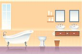 Household bathtub and toilet vector illustration composition. More Built Structure Series Lightbox