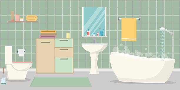 badezimmer innen - spiegelfliesen stock-grafiken, -clipart, -cartoons und -symbole