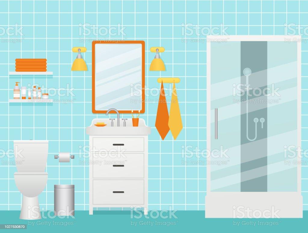 Salle De Bain Chocolat Turquoise intérieur de la salle de bain illustration vectorielle