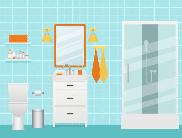 badezimmer interieur. vektor-illustration. zimmer mit duschkabine, waschbecken und toilette. - spiegelfliesen stock-grafiken, -clipart, -cartoons und -symbole
