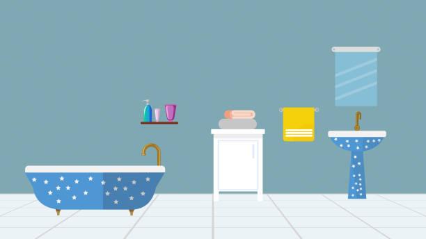 Bathroom interior with furniture Bathroom interior with furniture bathroom backgrounds stock illustrations