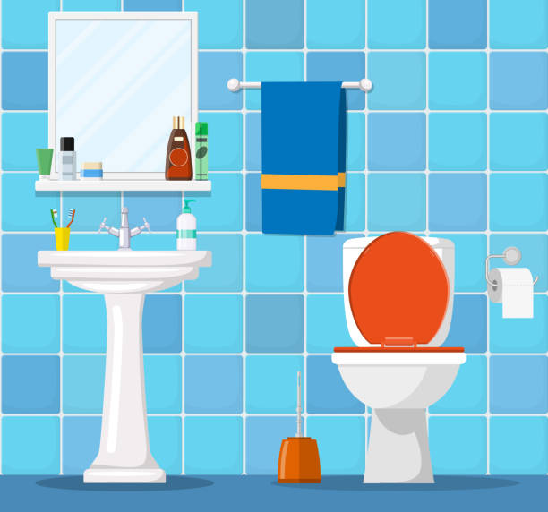 illustrazioni stock, clip art, cartoni animati e icone di tendenza di bathroom interior with toilet bowl, - bagno