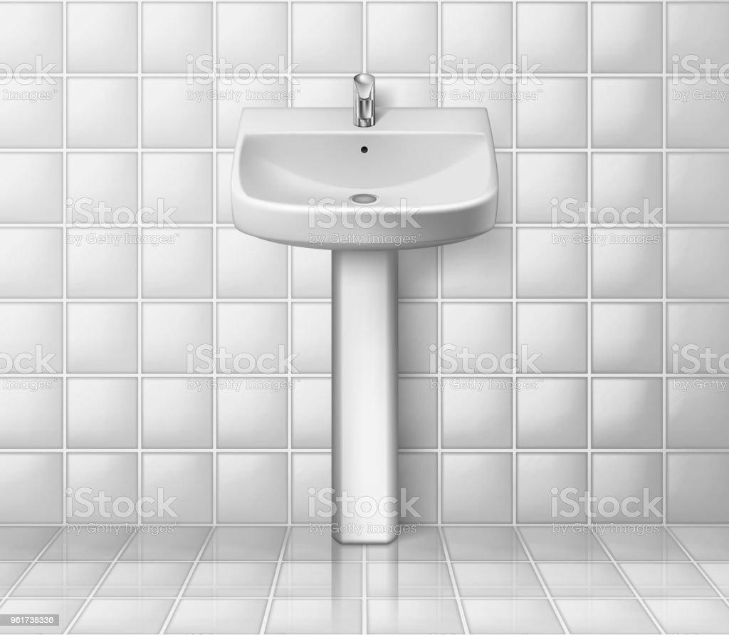 Ilustración de Interior De Cuarto De Baño Con Lavabo Blanco Lavabo ...