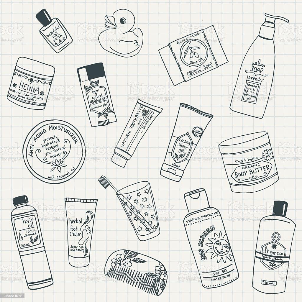 Bathroom items vector art illustration