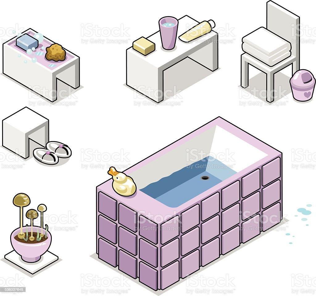 Bathroom items with bathtub, towels, soap (illustration) vector art illustration
