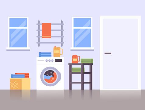 Bathroom laundry room service concept. Vector flat cartoon graphic design illustration