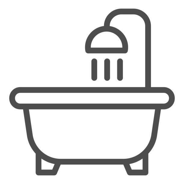 Bathroom line icon. Bathtub with shower, male and female restroom symbol, outline style pictogram on white background. Hotel business sign for mobile concept and web design. Vector graphics. Bathroom line icon. Bathtub with shower, male and female restroom symbol, outline style pictogram on white background. Hotel business sign for mobile concept and web design. Vector graphics architecture clipart stock illustrations