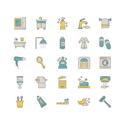 Bathroom line icon set. Editable Stroke