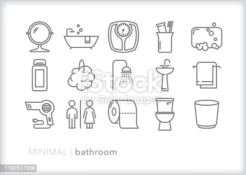 Home bathroom line icons for personal hygiene and grooming including taking a bath or shower, putting on makeup or going to the bathroom