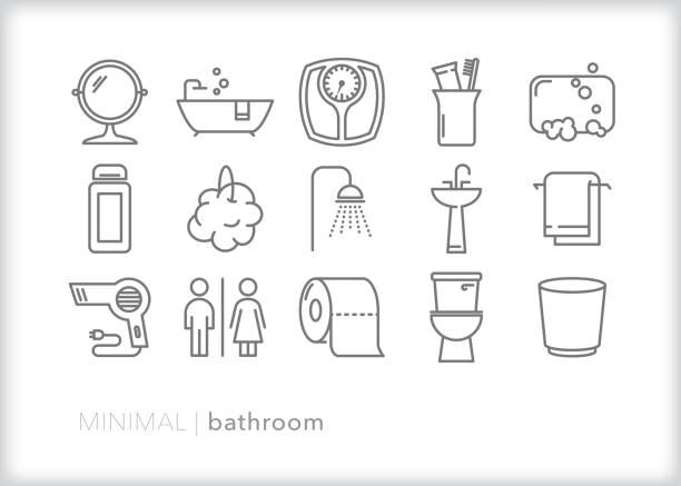 illustrazioni stock, clip art, cartoni animati e icone di tendenza di bathroom line icon set - bagno