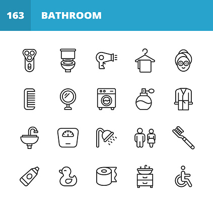 Bathroom Line Icons. Editable Stroke. Pixel Perfect. For Mobile and Web. Contains such icons as Razor, Toilet, Hair Dyer, Towel, Hanger, Comb, Mirror, Washing Machine, Perfume, Faucet, Sink, Weight Scale, Soap, Soap Container, Toilet Paper, Bathtub.