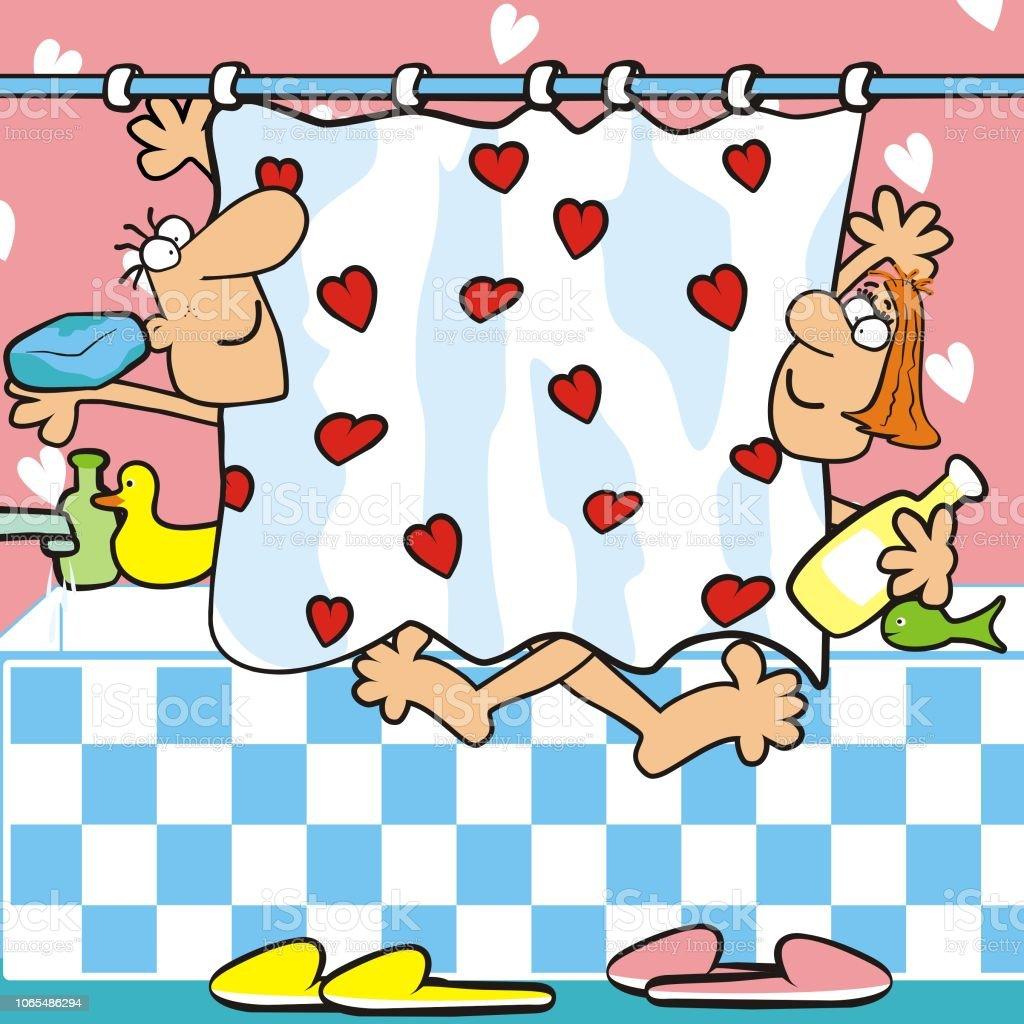 Badezimmer Mann Und Frau In Der Badewanne Lustige ...