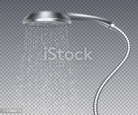 Bathroom metal head. Realistic water rain shower, isolated metal sprinkler with water spray. Vector realistic elegant contemporary shower watering