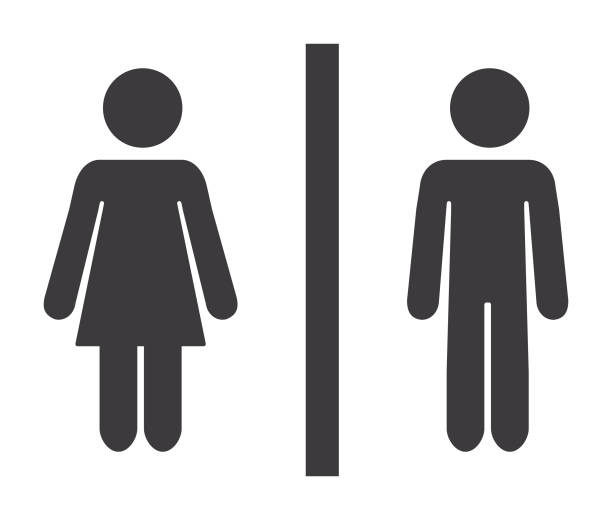bathroom mixed gender icon - мужчины stock illustrations