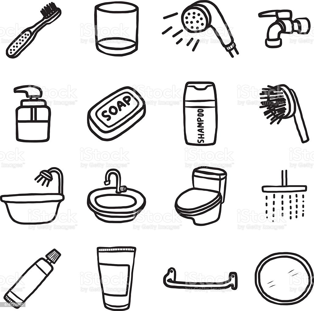 bathroom objects or icons set vector art illustration