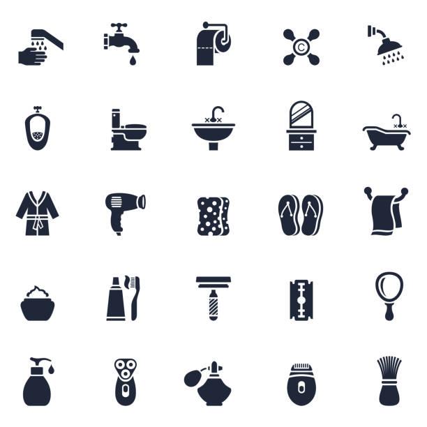 Bathroom or Shower Icon Set vector art illustration