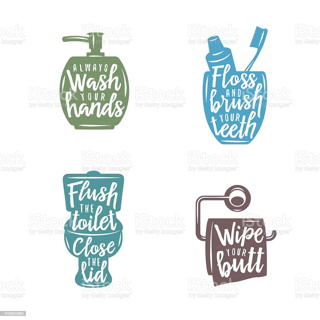 Bathroom Related Vintage Posters With Quotes Vector Illustration Royalty Free