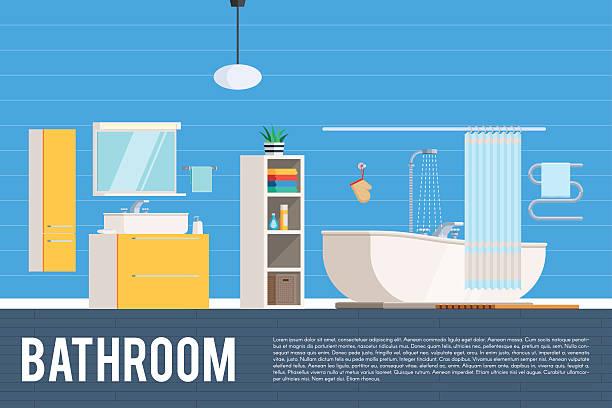 bathroom room interior design - spiegelfliesen stock-grafiken, -clipart, -cartoons und -symbole