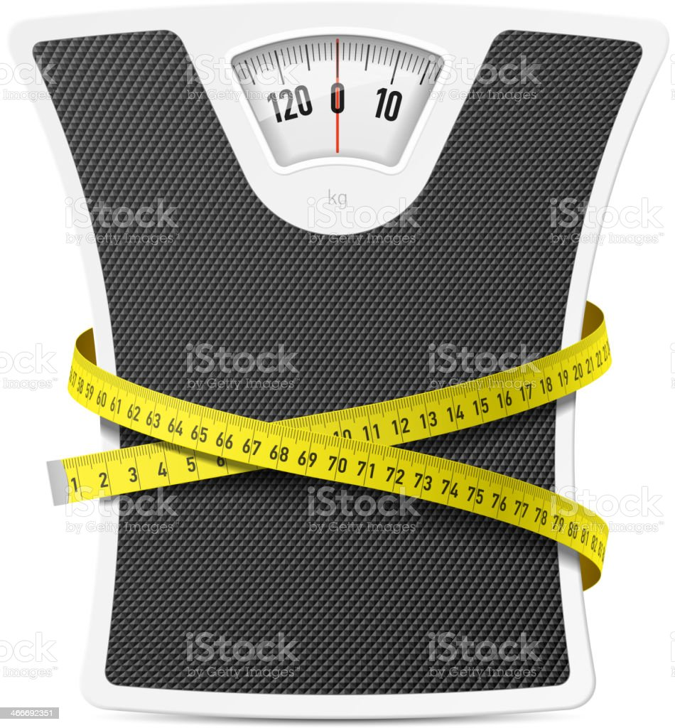 Bathroom scale with measuring tape vector art illustration