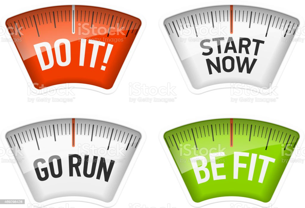 Bathroom scales displaying different messages vector art illustration
