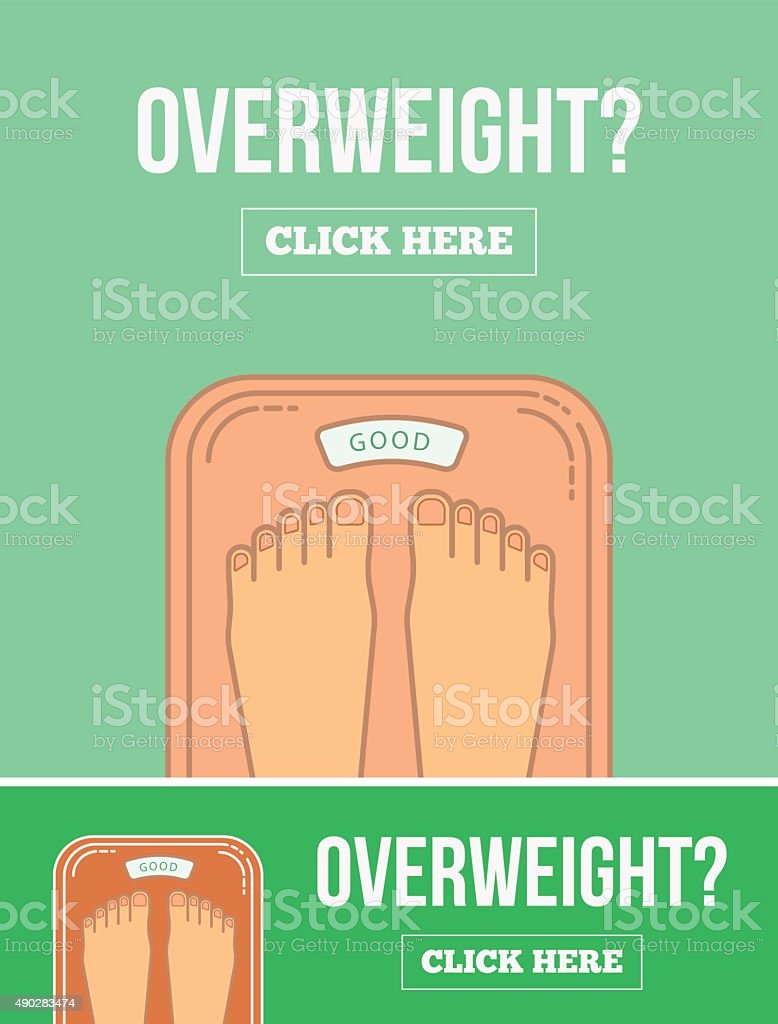 Bathroom scales with legs. Overweight banner design. vector art illustration