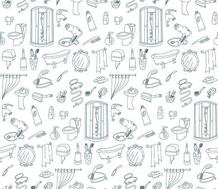 Bathroom Seamless Pattern Doodles