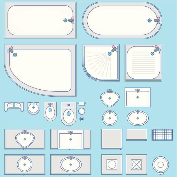 Bathroom set icon Top view Bathroom set icon. Top view. bathroom patterns stock illustrations