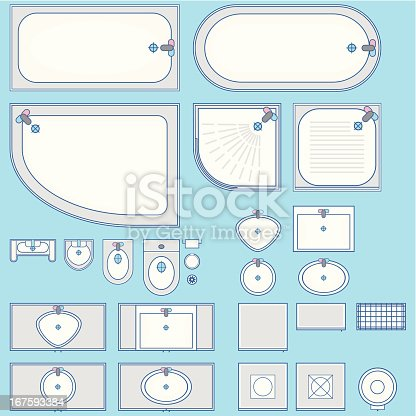 Bathroom Set Icon Top View Stock Vector Art 167593384 Istock