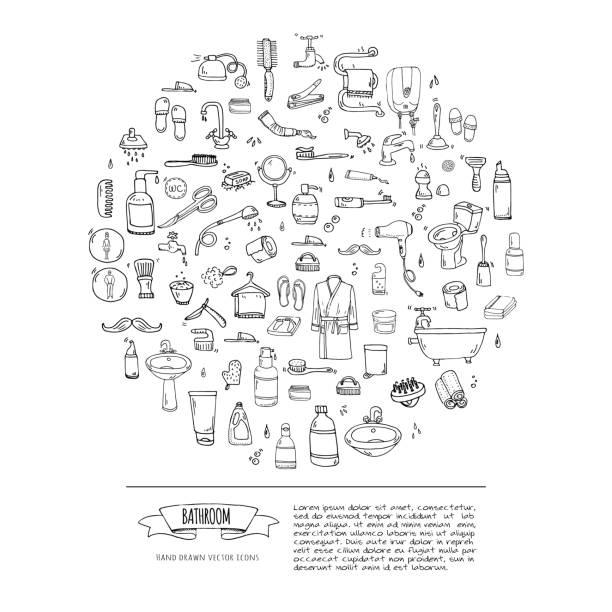 Bathroom set Hand drawn doodle Bathroom related icons set Vector illustration home bath symbols collection Cartoon elements on white background Sketch Toilet Sink Shower Bathtub Lavatory Towel Robe Slippers Fan bathroom borders stock illustrations