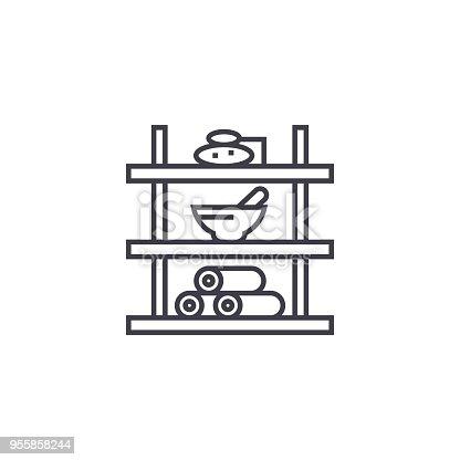 819534860istockphoto bathroom shelf vector line icon, sign, illustration on background, editable strokes 955858244