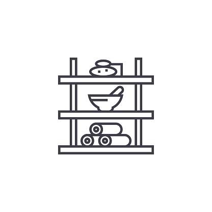 819534860 istock photo bathroom shelf vector line icon, sign, illustration on background, editable strokes 955858244