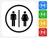 Bathroom Sign Icon Flat Graphic Design