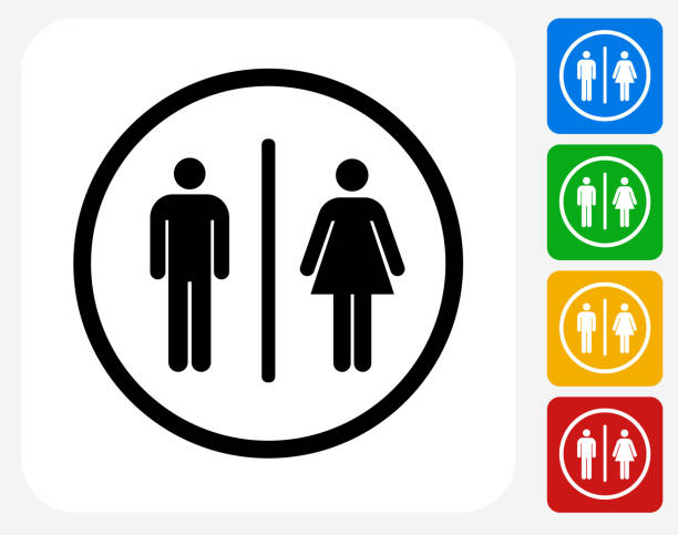 Bathroom Sign Icon Flat Graphic Design Bathroom Sign Icon. This 100% royalty free vector illustration features the main icon pictured in black inside a white square. The alternative color options in blue, green, yellow and red are on the right of the icon and are arranged in a vertical column. bathroom symbols stock illustrations