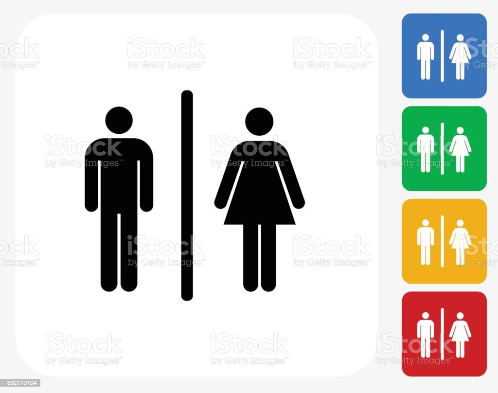 Bathroom Sign On Flat Square Button Stock Vector Art More Images
